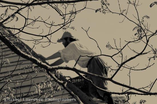 Man mending a roof